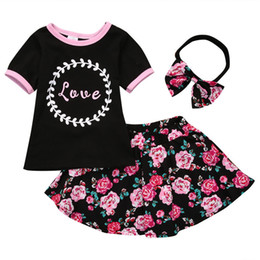 Girls Three-piece Sets T-shirt Tops Floral Skirts Headband Hairband Cotton Love Letters Summer Kids Outfits 1-5T