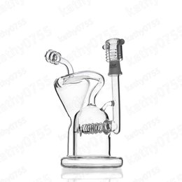 Pulse Glass Gridded Barrel Perc Recycler Real Platinum Pulse Glass Graphics Oil rigs Tire Birdcage Incline Percolators Joint Type:14mm Male