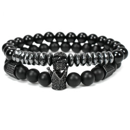 natural stone beads crown bracelet men jewelry Skull Skeleton Titanium Steel bracelets pulseira