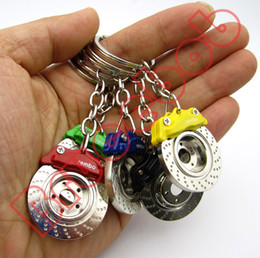 5 colors automobile Car Disc Rotor Brake Pads Plate Rotors keychain ABS brake assembly system keyring key chain ring