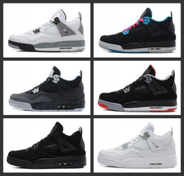 2018 hot sale 4 mens Basketball Shoes 4s Pure Money Royalty White Cement Bred Military Blue Fire Red bred Sports Sneakers size 8-13
