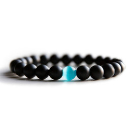 Opal Bead Bracelet For Men Women Black 8 mm Natural Stone Healing Reiki Prayer Beads Yoga Strand Bracelet Bangles