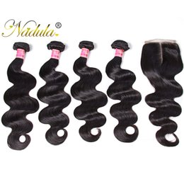 Nadula Brazilian Body Wave Human Virgin Hair Bundles With Closure 4Bundles With 1Lace Closure Hair Extensions Wefts Unprocessed Wholesale
