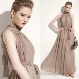 Wholesales Summer Elegant Chic Chiffon Bohemian Halter Ankle-length long Dresses with the same color belt Fashion