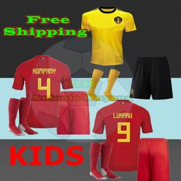 2018 Belgium kids jerseys football home Belgique soccer jersey kit child baby E.HAZARD DE BRUYNE R.LUKAKU football uniforn shirts