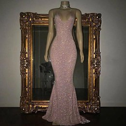 2018 Dazzling Rose Pink Sequined Mermaid Prom Dresses Sexy Spaghetti Straps Sleeveless Evening Gowns Zipper Back Formal Party Dresses