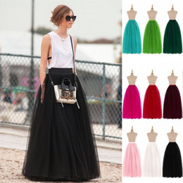 Cheap 100% Real Images Floor Length Puffy Long Skirts Spring Summer Tutu Skirts A-line Pleated Tulle Skirts CPA584