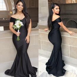 2019 New Black Plus Size Mermaid Bridesmaid Dresses Off Shoulder Formal Evening Gowns Prom Dresses Pleats Cheap Simple robe de soiree