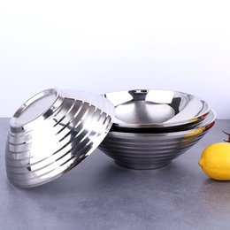 Custom LOGO Quality Eco-Friendly bowl Stainless steel metal soup bowl double layer hot insulation for anti slippery bowls 5PCS