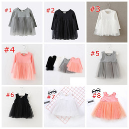 INS Long Short Sleeve Girls Cotton Tutu party Dresses Autumn Girl kids Clothing Baby Girl Solid Color Tutu Dress 1-5Years free ship 8colors