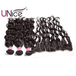 UNice Hair Malaysian Virgin Natural Wave Bundles With Frontal Closure Hair Weaves With Lace Frontals Weaving Closure Remy Human Hair Bulk