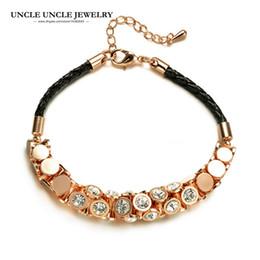 Rose Gold Color Austrian Rhinestone Stud Classic Bohemian Style Black Rope Lady Bracelet Wholesale