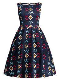 New Women OL Summer Sleeveless Long Dress Fashion Plus Size Cotton Print Vintage Dress