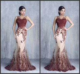 Tony Chaaya Latest Mermaid Evening Dresses Sheer Neck Lace Appliques Arabic Dubai Special Occasion Dress Party Gowns Custom Made Prom Dress