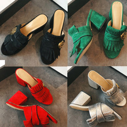 Scuffs half slippers spring summer classic tassel slippers fish mouth leather with thick with the lazy cool slippers women shoes 34-40