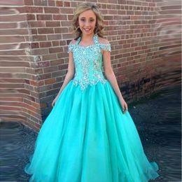 2019 Halter Pageant Dresses For Girls Teens Beadeds A Line Flower Girl Gowns For Wedding Junior Glitz First Communion Dress Kids Formal Wear