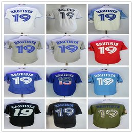 19 Jose Bautista Men's Baseball Jerseys Fashion Jersey White Blue Grey Red Size M-XXXL Men polo shirt