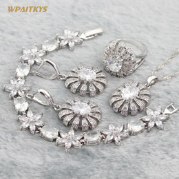 Wholesale Silver Wedding Jewelry Sets Oval Flower AAA Zircon Silver Plated Pendant Necklace Earrings Ring Bracelet For Women Rings Size 6-10