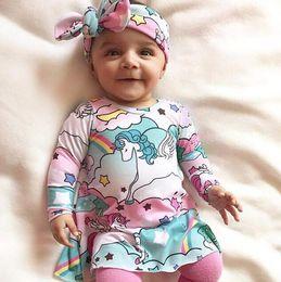 INS Toddler Cartoon Dress Spring 2018 horses rainbow sky paradise Princess Dress + Bow Headband 2pcs Sets Infant Outfits C2681