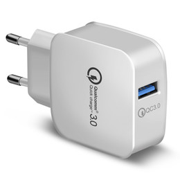 QC 3.0 Wall Charger Qualcomm USB Quick Charge 5V 3A 9V 2A 12V 1.5A Travel Power Adapter Fast Charging US EU Plug for iphone Samsung 200PCS