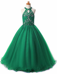 Glitz Girls Pageant Dresses Keyhole Back Crystal Beadings Halter Kids Ball Gown Prom Dress Pageant Dresses for Girls Flower Girl Dresses