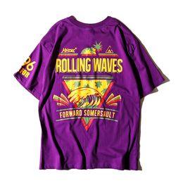 Fashion Hip-hop Style Men Women Loose T-shirt 100% Cotton Sea Wave Pattern Printing Round Collar Leisure Short Sleeved Couples Dress