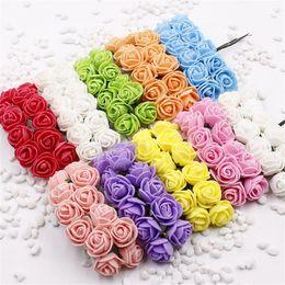 10 pcs Mini Foam Rose Artificial Flowers For Home Wedding Car Decoration DIY Pompom Wreath Decorative Bridal Flower Fake Flower free ship
