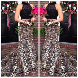 2018 Two Piece Black Lace Top Sexy Leopard Print Custom Prom Dresses High Neck Formal Sweep Train Mermaid Evening Dress Party Gowns