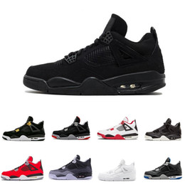 Cheap Top 4 men basketball shoes sneakers Black Yellow White Cement Pure Money Bred Royalty Game Royal 4s Sports shoes US 8-12