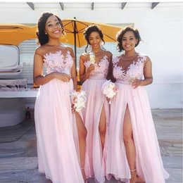 Cheap Country blush pink bridesmaid dresses 2019 Sexy sheer Jewel neck lace appliques maid of honor dresses split evening gowns wear BA6919