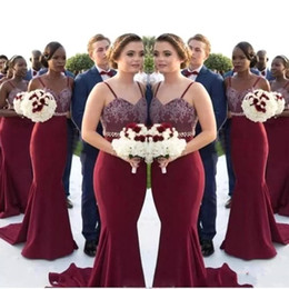 Mermaid Burgundy Long Bridesmaid Dresses 2018 African Spaghetti Straps Lace Maid Of Honor Gowns Wedding Guest Dress BA8027