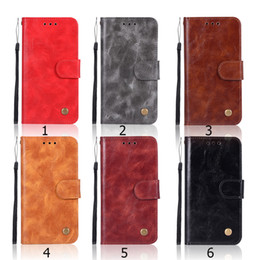 Vintage Leather wallet Case Retro Flip for iPhone 9 Plus X Xs 7 8 6s Samsung S9 S8 S7 Note Luxury Magnetic Cellphone Cases Cover Button