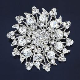 Vintage Style Rhodium Plated Clear Rhinestone Zinc Alloy Wedding Bouquet Brooch Pretty Stunning Diamante Flower Pins Cloth Decoration B483