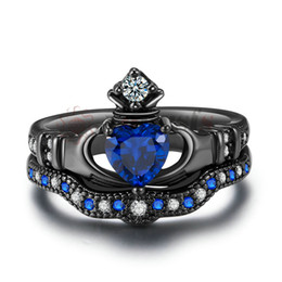 Yoursfs Women's Celtic Claddagh Rings Black Heart Traditional Friendship Ring Sizes 6-10