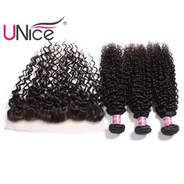 UNice Hair Indian Curly Wave Bundles With Frontal Ear to Ear Lace Frontal Hair Weaves With Curl Lace Closure Cheap Wholesale Unprocessed