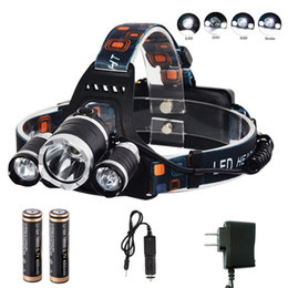 Wholesale led headlights Outdoor Headlamp Camping 5000LM 3x XM-L T6 led lights Headlamp Headlight Light Lamp with 2x 18650 Battery Charger
