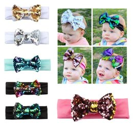 2018 Boutique Baby Girl Hairbows Elastic Headbands Baby girl Sequins Shining Hair Bows Knot Bows hair accessories Wholesale