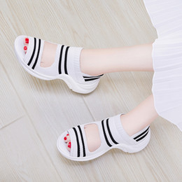 Preppy Style 2018 fashionable summer elastic fabric shoes women casual Black and white stripes shoes women sandals Size34-40