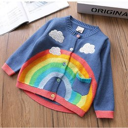 2018 Autumn New Kids sweaters cardigan Girl Rainbow clouds Outwear Tops Boutique Wholesale Autumn 100%cotton children clothing Free shipping