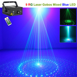 AUCD 9 Patterns Mini GB Green&Blue Laser Projector Lights 3W Blue LED Mixing Effect DJ Party Laser Show Stage Lighting L09GB