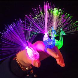 Light Up Peacock Finger Bright Blinking LED Flying Jelly Finger Rings Party Flash lighting Shinning Bright Lamp New Year Christmas Wedding