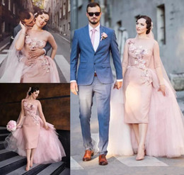 2019 Blush Pink Appliques Tulle Overskirt Wedding Dresses With Detachable Train Sheer Neck Half Long Sleeve Sheath Bridal Gowns Plus Size