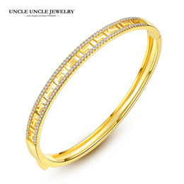 Brand Design Gold Color Zirconia Fully Micro Set Hollow out Paved G Rome Style Luxury Woman Bangle Bracelet Wholesale