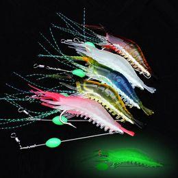 10pcs 7-color 9cm 5.5g Luminous Shrimp Hook Fishing Hooks Soft Baits & Lures Artificial Bait Pesca Fishing Tackle Accessories