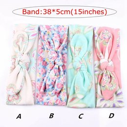 INS New Children Kids Headbands Bohemia Baby turban Knot Bunny Rabbit Ear Head Bands hairbands Kids elastic Cotton hair accessories