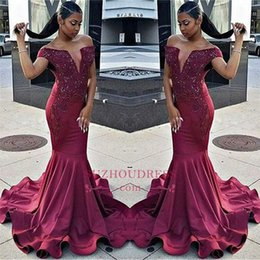 Burgundy Off The Shoulder Mermaid Prom Dresses 2018 Cascading Ruffles V-neck Beads Appliques Evening Gowns For African