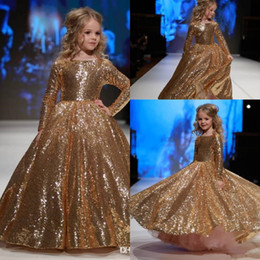 2018 Golden Sequin Ruched Flower Girls' Dresses Long Sleeves Ruched A Line Floor Length Girls' Pageant Birthday Party Formal Dresses