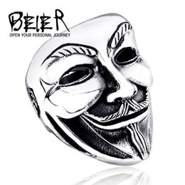 New Man's Stainless Steel Ring Super Hero Movie V for Vendetta Fashion 316L Titanium Steel Rings Jewelry