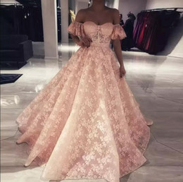 2018 Charming Elegant Full Lace Prom Dresses Short Sleeves Off the Shoulder A Line Long Prom Evening Gowns Formal Party Pageant Gowns