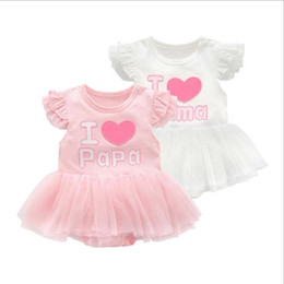 I love Papa Mama Baby Girls Embroidered Dress Rompers Infant Toddler Fly Sleeve Cake Skirt bodysuits Kids Onesies Jumpsuits Clothing Clothes